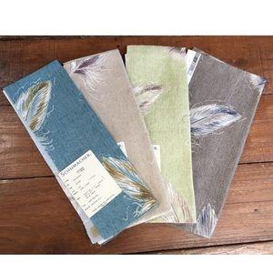 4Pcs Schumacher Feathers 100% Linen Fabric Samples